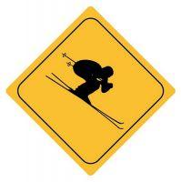 Aufkleber Sticker Achtung Skifahrer Autoaufkleber