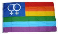Fahne / Flagge Regenbogen Lesbian 90 x 150 cm