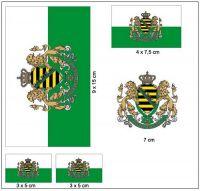 Fahnen Aufkleber Set Königreich Sachsen
