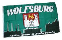 Fahne / Flagge Wolfsburg Silhouette 90 x 150 cm