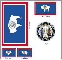Fahnen Aufkleber Set USA - Wyoming