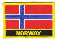 Fahnen Aufnäher Norwegen Schrift