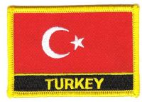 Fahnen Aufnäher Türkei Schrift
