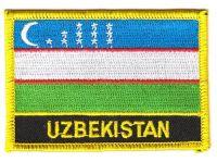 Fahnen Aufnäher Usbekistan Schrift