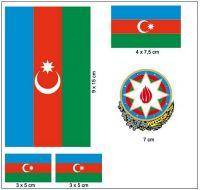 Fahnen Aufkleber Set Aserbaidschan