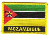 Fahnen Aufnäher Mosambik Schrift