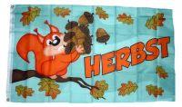 Fahne / Flagge Herbst Eichhörnchen 90 x 150 cm