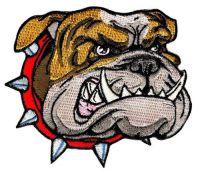 Aufnäher Bulldogge 8,5 x 7,5 cm Aufbügler Patch