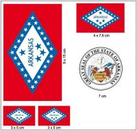 Fahnen Aufkleber Set USA - Arkansas