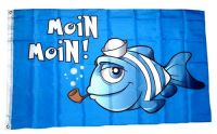 Fahne / Flagge Moin Moin Fisch Pfeife 90 x 150 cm