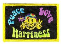 Fahnen Aufnäher Peace Love & Happiness