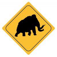 Aufkleber Sticker Achtung Mammut Autoaufkleber