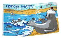 Fahne / Flagge Seehund Küste Moin Moin 90 x 150 cm