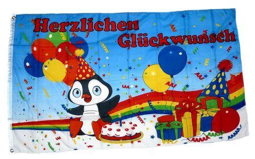 Fahne / Flagge Herzlichen Glückwunsch Ballons 90 x 150 cm