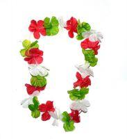 Hawaiikette grün / weiß / rot