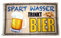 Fahne / Flagge Spart Wasser Trinkt Bier 90 x 150 cm