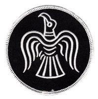 Aufnäher Patch Raven Wikinger Odin weiß