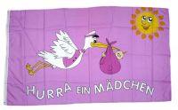 Fahne / Flagge Hurra ein Mädchen 90 x 150 cm