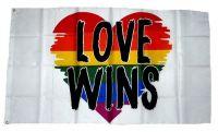 Fahne / Flagge Herz Love Wins 90 x 150 cm