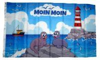 Fahne / Flagge Moin Moin Seehunde Leuchtturm 90 x 150 cm