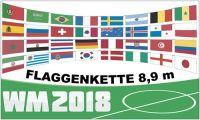 Flaggenkette WM 2018 32 Teilnehmerländer 8,9 m