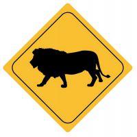 Aufkleber Sticker Achtung Löwe Autoaufkleber