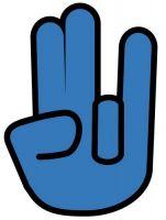 Aufkleber Sticker Shocker Hand blau