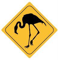 Aufkleber Sticker Achtung Flamingo Autoaufkleber