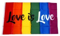 Fahne / Flagge Regenbogen Love is Love 90 x 150 cm