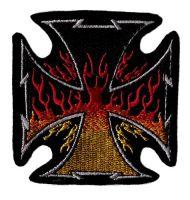 Aufnäher Patch Eisernes Kreuz Flammen
