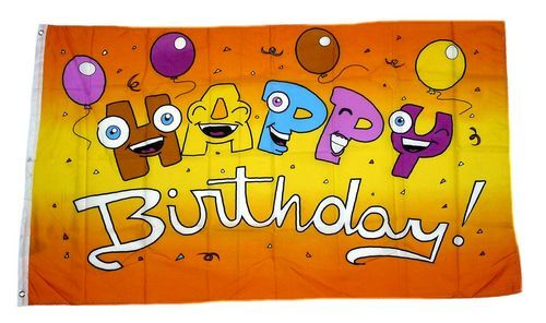 Fahne Flagge Happy Birthday mit Ballons 90 x 150 cm